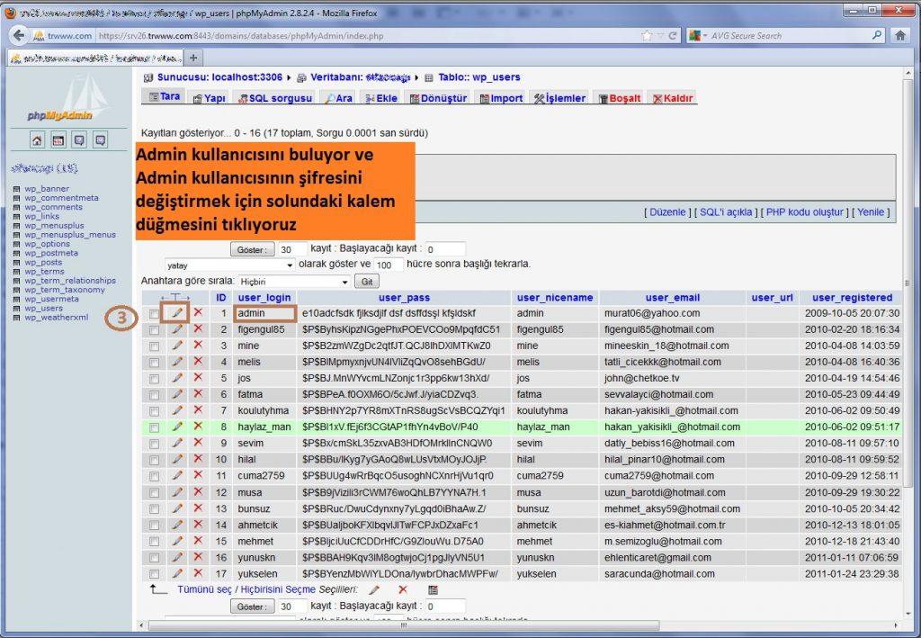 Wordpress Admin Şifresini Sıfırlama