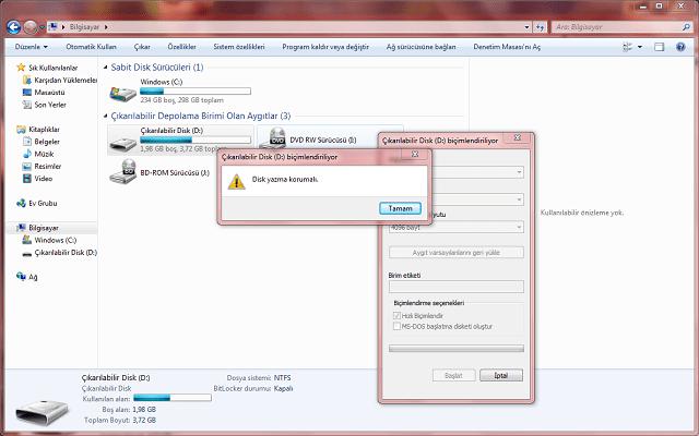 disk yazmaya karşı korumalı hatası çözümü