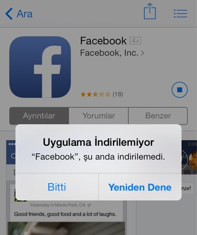İphone Uygulama İndirilemiyor
