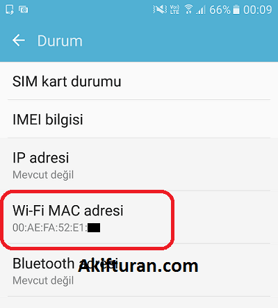 android mac adresi öğrenme