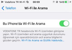 iphone wifi arama
