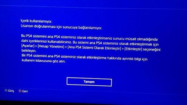 PS4 lisansın doğrulanması